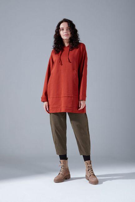 Mizalle - Kapüşonlu Basic Sweatshirt (Kiremit)