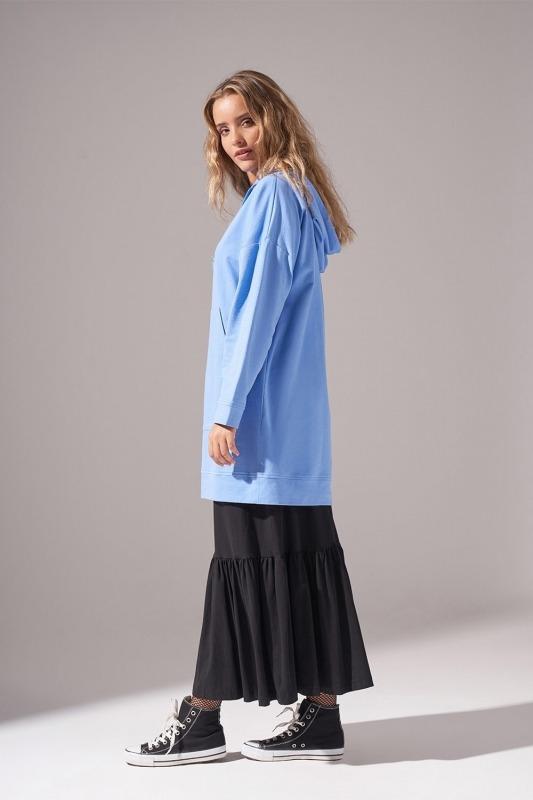 Kapüşonlu Basic Sweatshirt (Mavi)