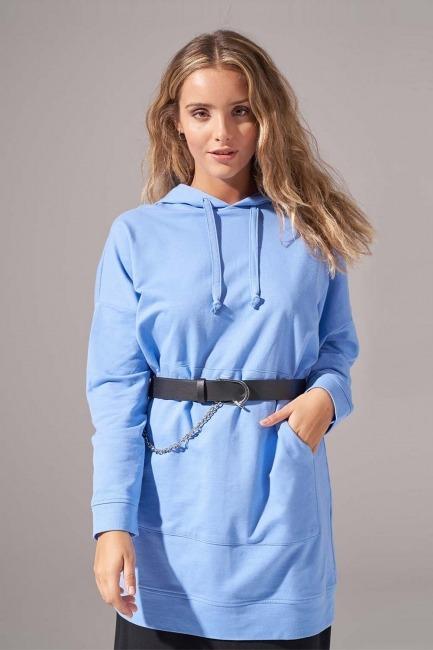 Kapüşonlu Basic Sweatshirt (Mavi) - Thumbnail