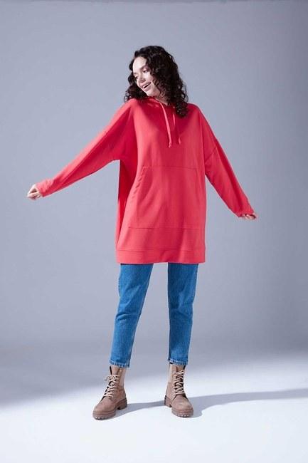 Mizalle - Kapüşonlu Basic Sweatshirt (Nar Çiçeği)