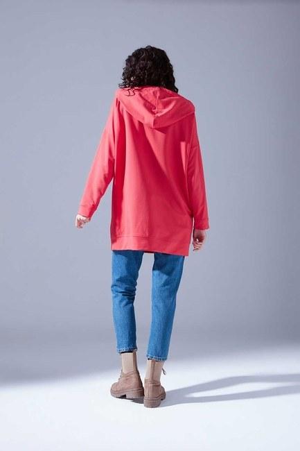 Kapüşonlu Basic Sweatshirt (Nar Çiçeği) - Thumbnail