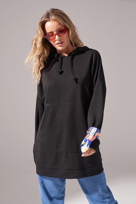 Kapüşonlu Basic Sweatshirt (Siyah) - Thumbnail