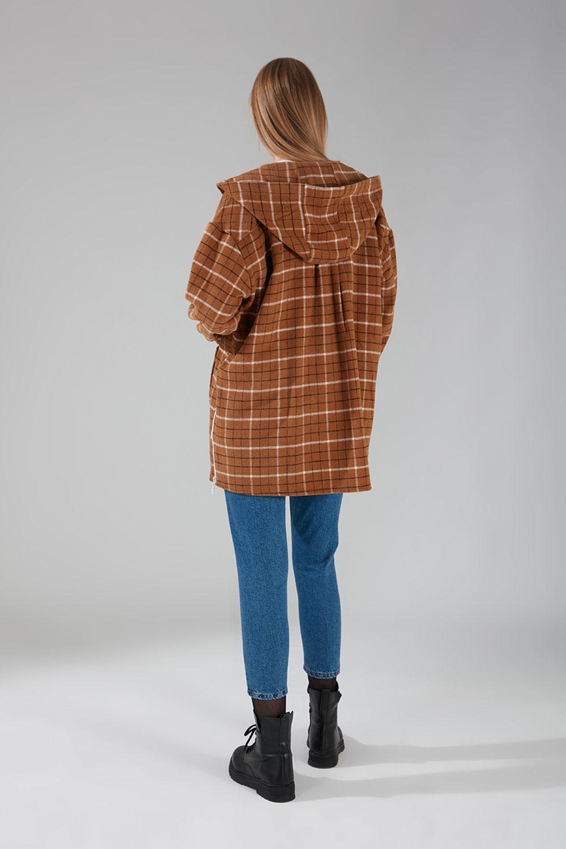 Kapüşonlu Ekose Gömlek Ceket (Camel Desen)