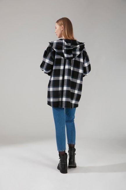 Kapüşonlu Ekose Gömlek Ceket (İndigo) - Thumbnail