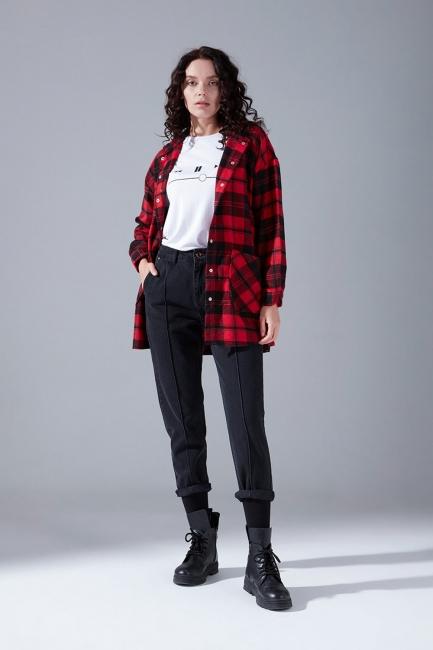 Mizalle - Kapüşonlu Ekose Gömlek Ceket (Kırmızı-Siyah)
