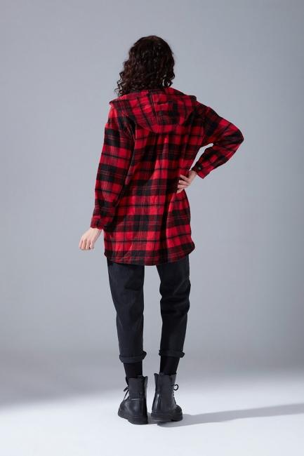 Kapüşonlu Ekose Gömlek Ceket (Kırmızı-Siyah) - Thumbnail