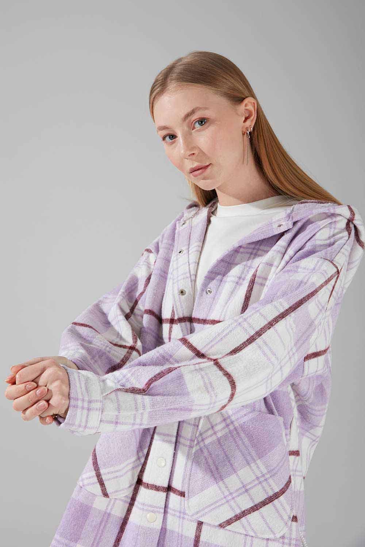 Kapüşonlu Ekose Gömlek Ceket (Lila)