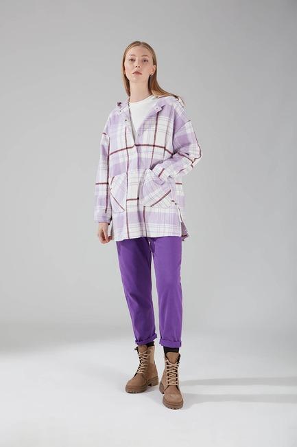 Kapüşonlu Ekose Gömlek Ceket (Lila) - Thumbnail