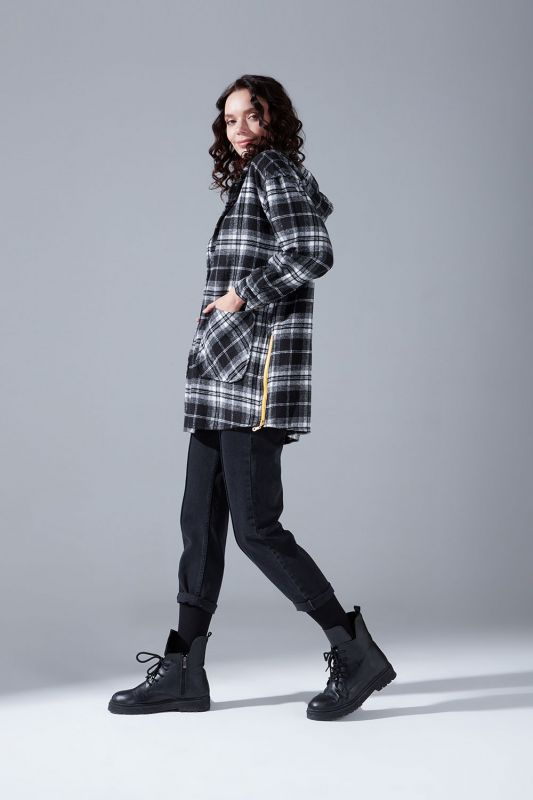 Kapüşonlu Ekose Gömlek Ceket (Siyah-Beyaz)