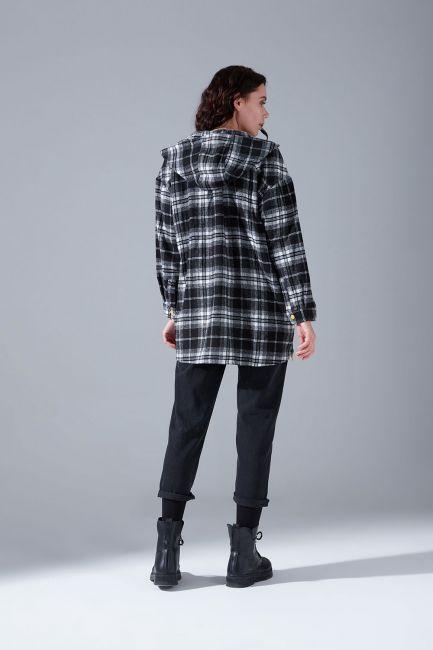 Kapüşonlu Ekose Gömlek Ceket (Siyah-Beyaz) - Thumbnail