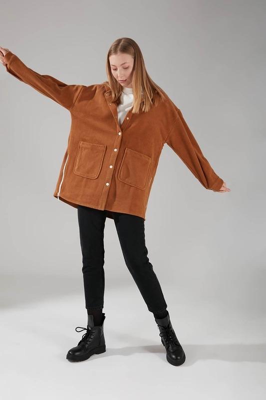 Kapüşonlu Gömlek Ceket (Camel)