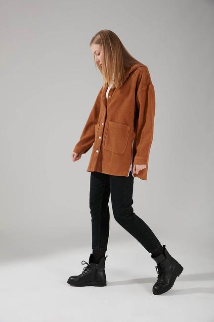 Kapüşonlu Gömlek Ceket (Camel) - Thumbnail