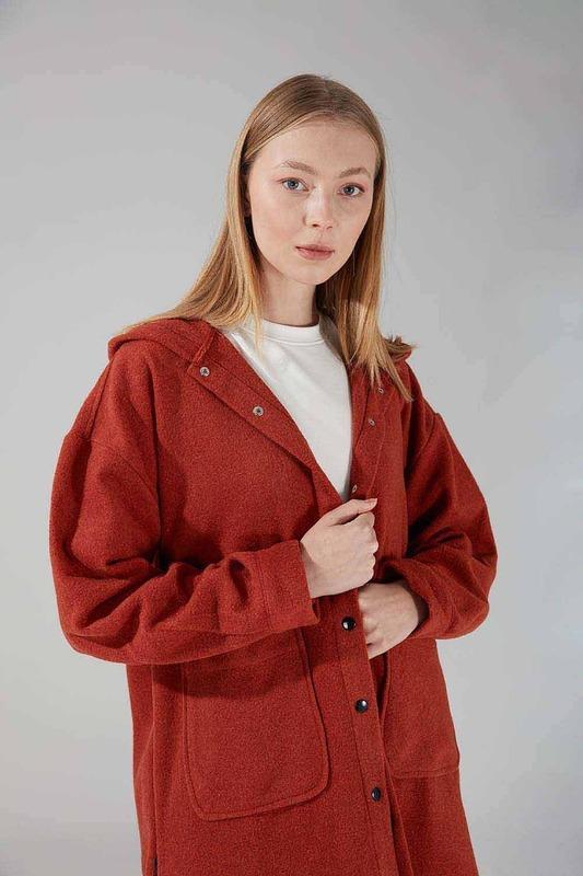 Kapüşonlu Gömlek Ceket (Kiremit)