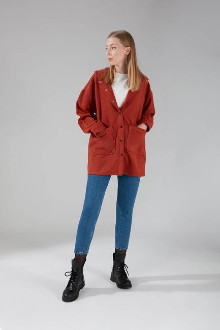 Kapüşonlu Gömlek Ceket (Kiremit) - Thumbnail