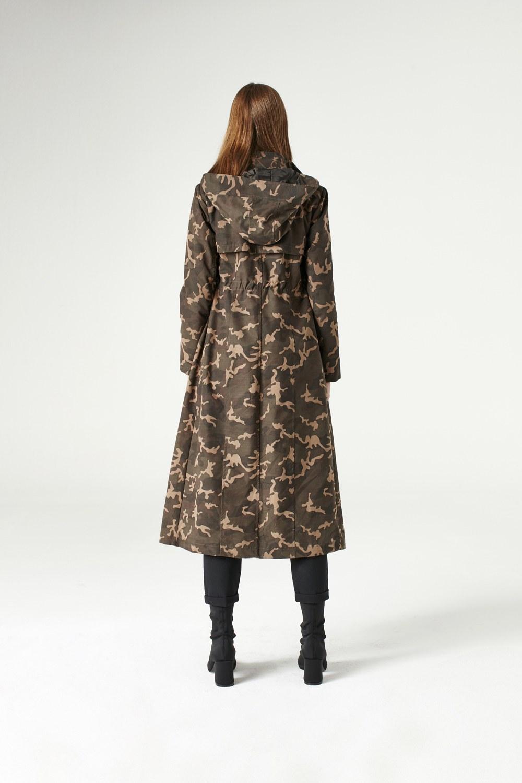 MIZALLE معطف مطري عسكري ذو قبعه (خاكي) (1)