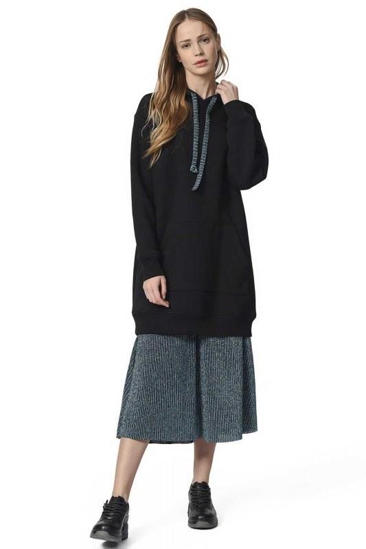 الكنغر مقنعين جيب قميص ثقيل (أسود)