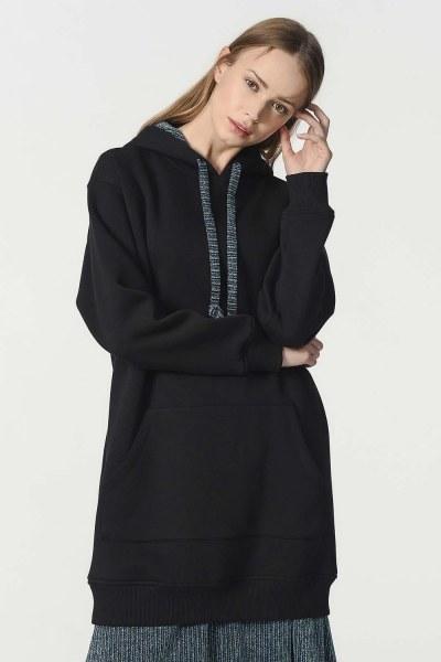 الكنغر مقنعين جيب قميص ثقيل (أسود) - Thumbnail