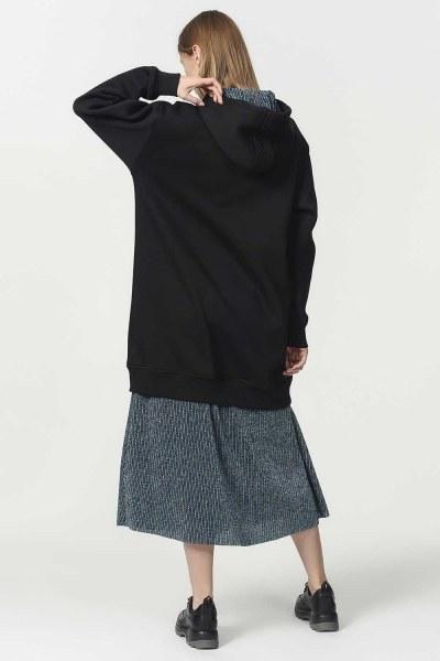 Kapüşonlu Kanguru Cepli Sweatshirt (Siyah) - Thumbnail