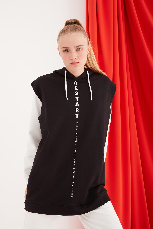 Kapüşonlu Kolsuz Siyah Sweatshirt