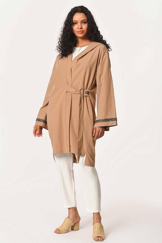 MIZALLE Kapüşonlu Süs Taşlı Tunik Boy Ceket (Camel) (1)