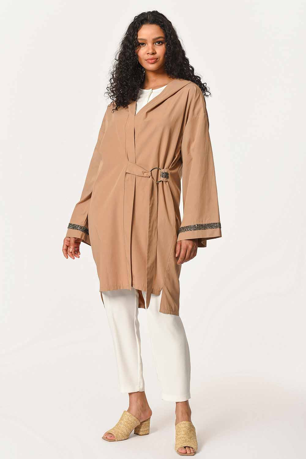 MIZALLE Hooded Tunic Jacket (Camel) (1)
