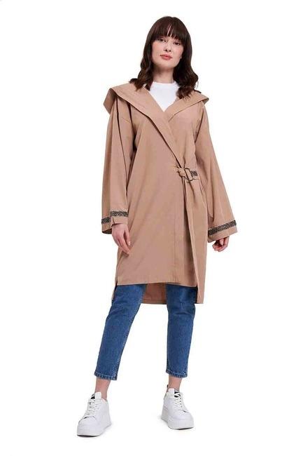 Kapüşonlu Süs Taşlı Tunik Boy Ceket (Camel) - Thumbnail