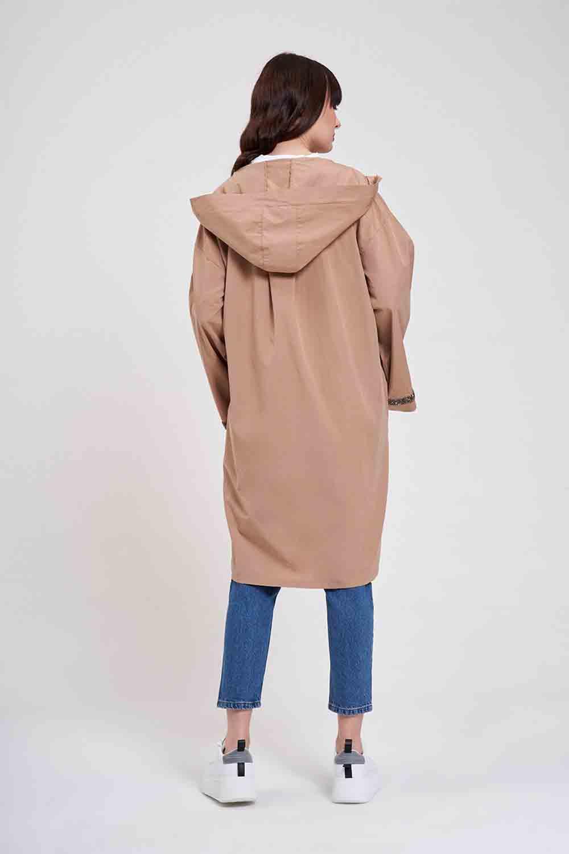 Kapüşonlu Süs Taşlı Tunik Boy Ceket (Camel)