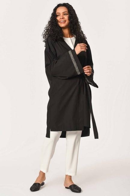 Kapüşonlu Süs Taşlı Tunik Boy Ceket (Siyah) - Thumbnail