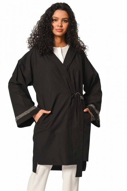 MIZALLE Hooded Tunic Jacket (Black)