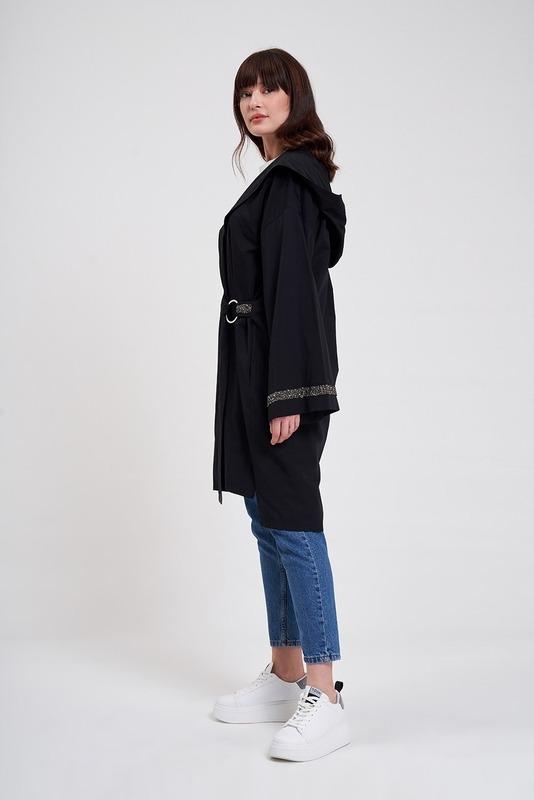 Kapüşonlu Süs Taşlı Tunik Boy Ceket (Siyah)