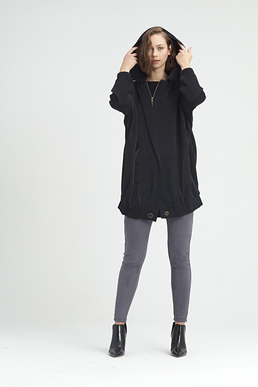 MIZALLE معطف مطر بقبعة (أسود) (1)