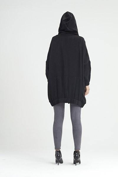 معطف مطر بقبعة (أسود) - Thumbnail