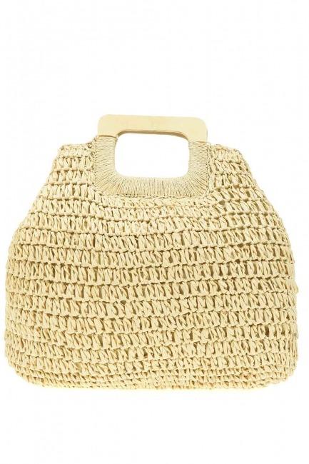 MIZALLE - Square Form Straw Handbag (Beige) (1)