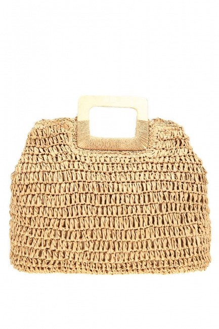MIZALLE - Square Form Straw Handbag Tan) (1)