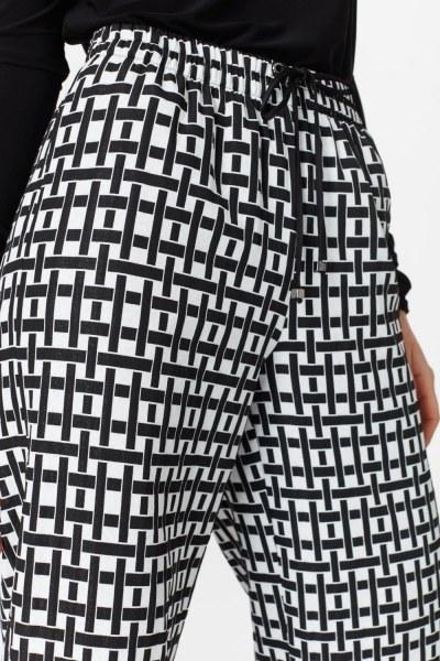 Kare Jakarlı Pantolon (Siyah/Beyaz) - Thumbnail