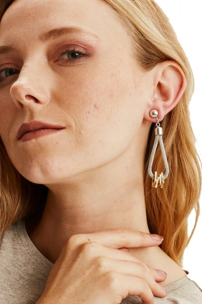 MIZALLE - Metal Flake Square Earrings (Silver) (1)