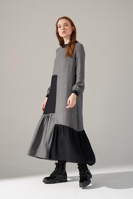 Kare Parçalı Elbise (Gri) - Thumbnail