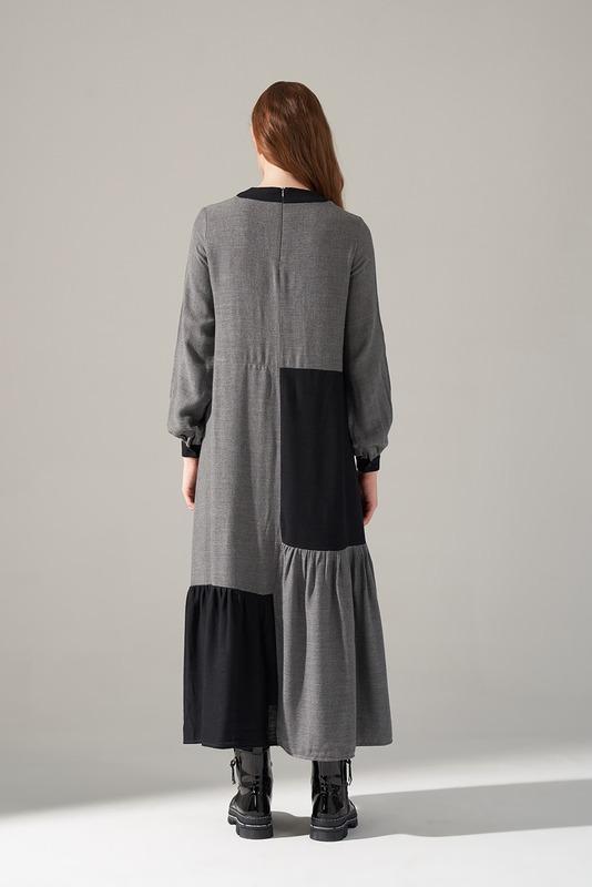 Kare Parçalı Elbise (Gri)