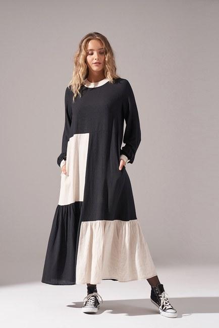 Mizalle - Kare Parçalı Elbise (Siyah)