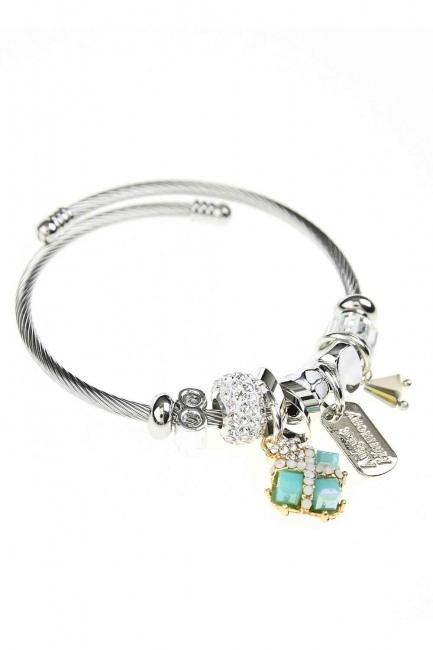 MIZALLE - Square Stone Bracelet (Blue) (1)