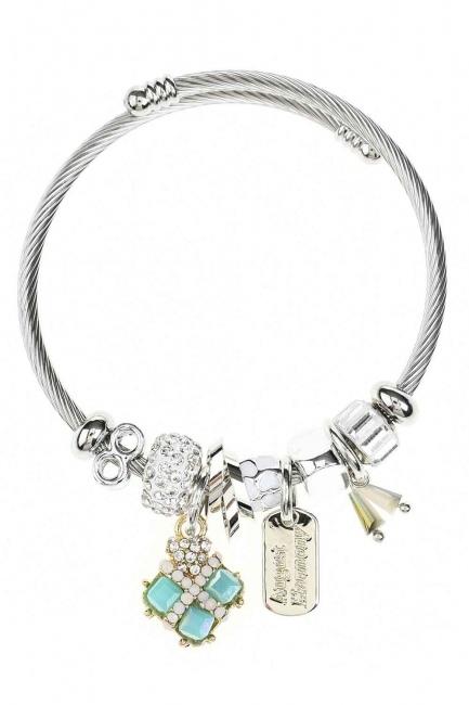 MIZALLE Square Stone Bracelet (Blue)