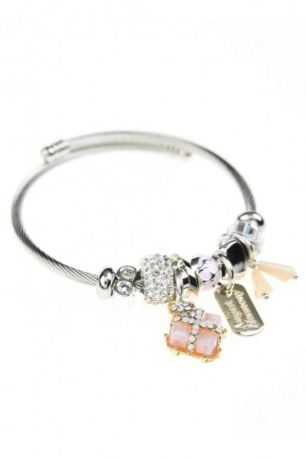 MIZALLE - Square Stone Bracelet (Pink) (1)