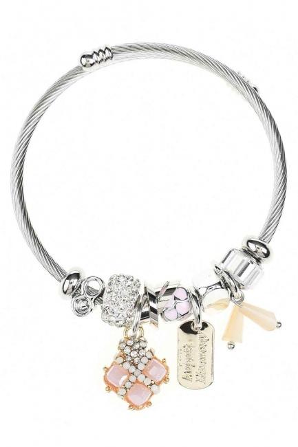 MIZALLE Square Stone Bracelet (Pink)