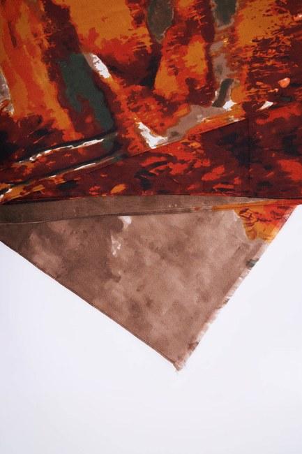 MIZALLE - Cartoon Patterned Thick Shawl (Orange) (1)