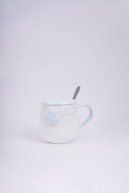 Mizalle - Kaşıklı Porselen Kupa (Mavi)
