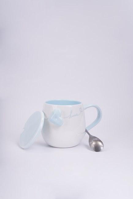 Kaşıklı Porselen Kupa (Mavi) - Thumbnail