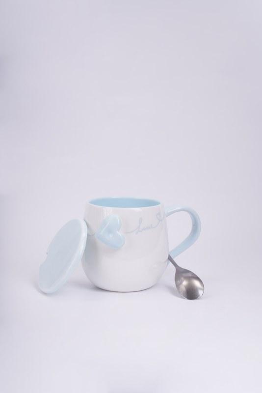 Kaşıklı Porselen Kupa (Mavi)