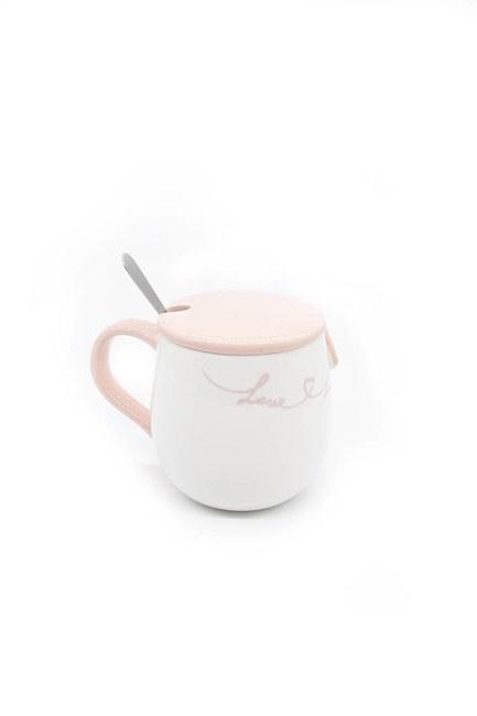 Kaşıklı Porselen Kupa (Pembe) - Thumbnail