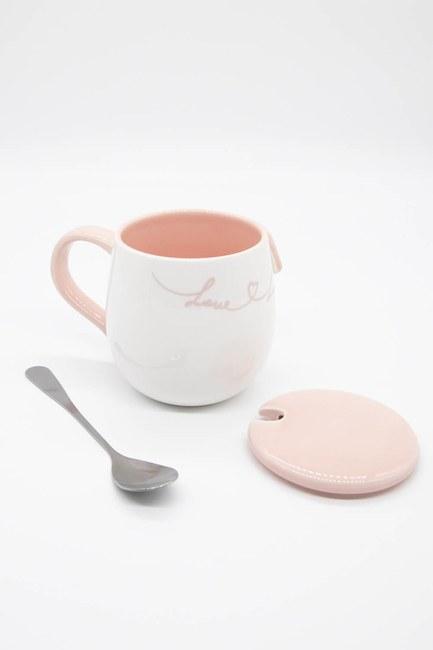 MIZALLE HOME - Kaşıklı Porselen Kupa (Pembe) (1)