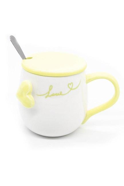 Mizalle Home - Kaşıklı Porselen Kupa (Sarı)